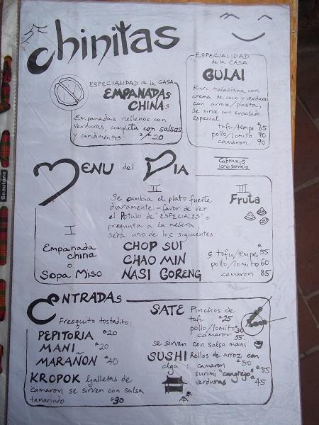 Las Chinitas Menu Sushi Cafe Restaurante Santander Panajachel